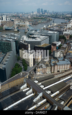 View east over train lines and River Thames from the Shard London - Stock Photo
