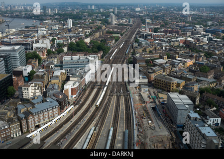 View south east over train lines from the Shard - Stock Photo