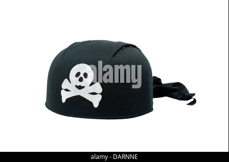 A black pirate hat on a white background - Stock Photo