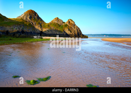 Three Cliffs Bay, Gower peninsula, Swansea, Wales - Stock Photo