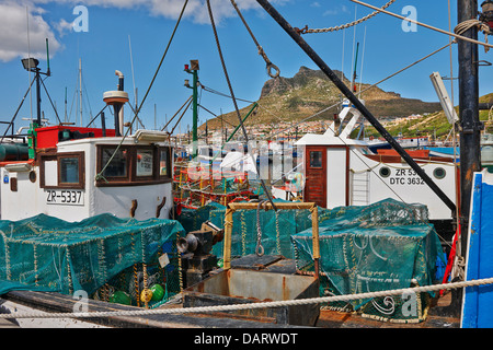 fishing boats in harbor of Hout Bay, Cape Town, Western Cape, South Africa - Stock Photo