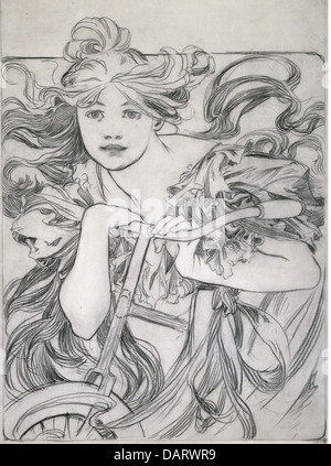 fine arts, Mucha, Alfons (1860 - 1939), graphic, 'Cyclist', sketch, drawing, 1902, private collection,   bicycle, - Stock Photo