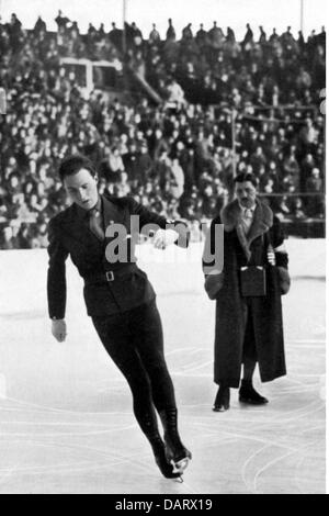 sports, Olympic Games 1936, Garmisch-Partenkirchen, figure skating, Karl Schaefer (Austria), during the required - Stock Photo