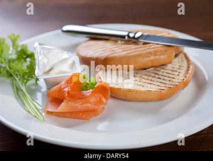 Salmon cream cheese sandwich - Stock Photo