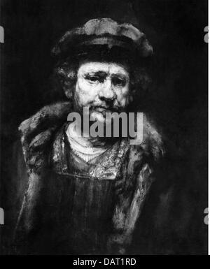 Rembrandt, Harmensz van Rijn, 15.7.1606 - 4.10.1669, Dutch painter, painting, 'Self-portrait with red hat', circa - Stock Photo