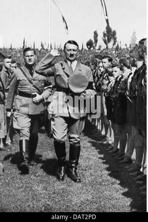 Nazism / National Socialism, Nuremberg Rallies, 'Rally of Power', Nuremberg, 10. - 16.9.1935, Adolf Hitler pacing - Stock Photo