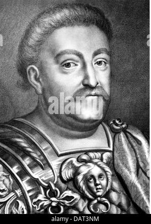 John III Sobieski, 17.8.1629 - 17.6.1696, King of Poland 21.5.1674 - 17.6.1696, portrait, copper engraving by Bartholomaeus - Stock Photo