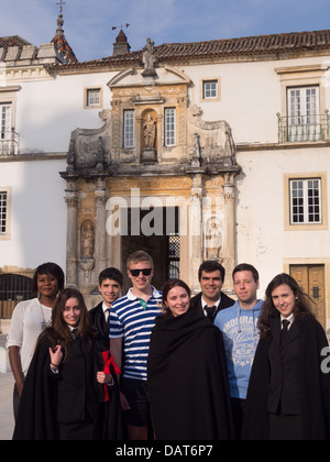 Foreign exchange students from the Erasmus program at the University of Coimbra, Portugal - Stock Photo