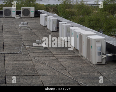 Air conditioning units on a rooftop - Stock Photo