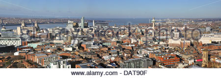 A panoramic view of Liverpool City Centre from the top of the Anglican Cathedral. Liverpool, Merseyside, England, - Stock Photo
