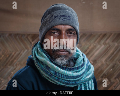 Portrait of a local man at the Kumbh Mela 2013 in Allahabad, India - Stock Photo