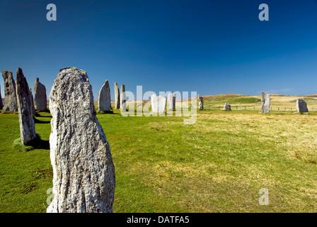 Callanish standing stone circle, Callanish, Isle of Lewis, Outer Hebrides, Scotland, UK. - Stock Photo