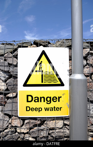 Danger Deep Water sign attached to a wall - Stock Photo