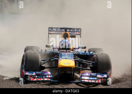 SILVERSTONE, UK - JULY 18: Daniel Ricciardo drives for Red Bull Racing during the Formula One Young Drivers Test - Stock Photo