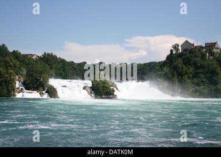 View of Rhine Falls in Switzerland - Stock Photo