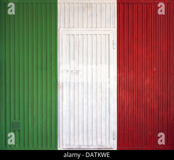 Italian flag on the background of old locked doors - Stock Photo