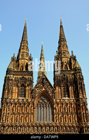 West front view of the Cathedral, Lichfield, Staffordshire, England, Western Europe. - Stock Photo