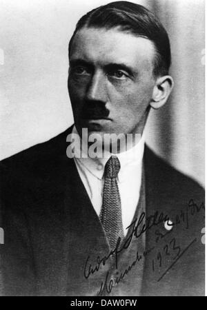 Hitler, Adolf, 20.4.1889 - 30.4.1945, German politician (NSDAP), portrait, with dedication, Munich, 24.12.1923, - Stock Photo