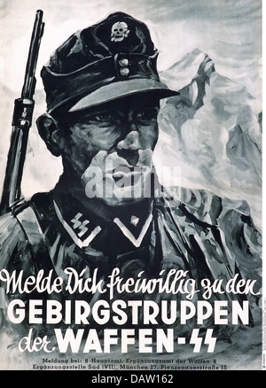 National Socialism / Nazism, organisations, SS (Schutzstaffel), Waffen-SS, recruiting poster 'Volunteer for the - Stock Photo