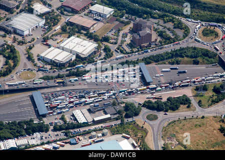 AN AERIAL VIEW OF BOTH TOLL BOOTHS OF THE QE2 BRIDGE WITH TRAFFIC QUEUING, - Stock Photo