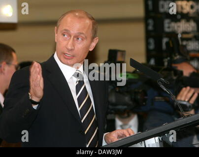 Russian President Vladimir Putin holds a speech at the opening of the 43rd Conference on Security Policy in Munich, - Stock Photo