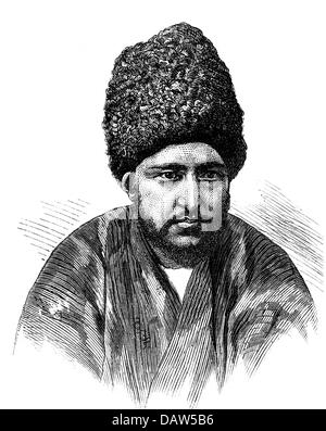 Seyyid Muhammad Rahim Khan II, + 1910, Prince of Xiva since 1868, portrait, wood engraving, 2nd half of the 19th - Stock Photo