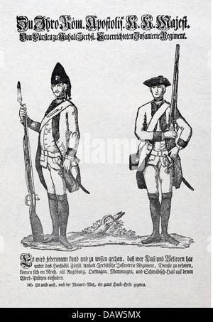 military, Germany, recruitment, princely infantry regiment Anhalt - Zerbst, advertising poster for recruitment of - Stock Photo