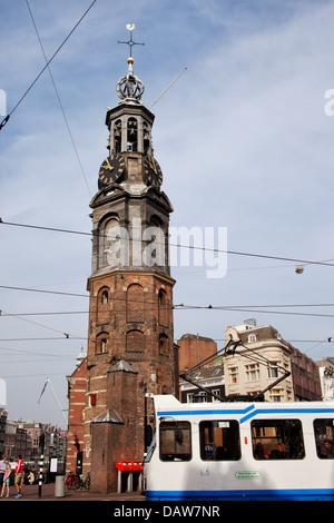 Munttoren (mint tower), historic landmark in the city of Amsterdam, Netherlands. - Stock Photo
