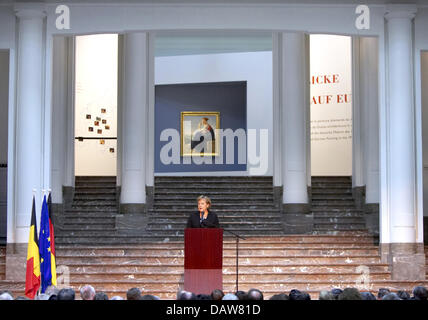 President of the Council of the European Union and German Chancellor Angela Merkel gives a speech during the opening - Stock Photo