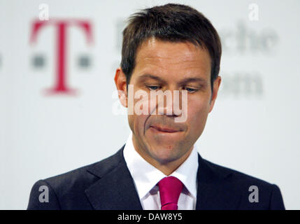 Deutsche Telekom CEO Rene Obermann is pictured during a press conference at the world's largest IT trade fair CeBIT, - Stock Photo