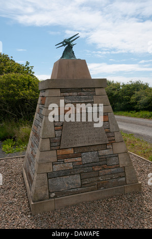 A memorial at the site of Orkney's first airport on the outskirts of Kirkwall records the inaugural flight by Capt - Stock Photo
