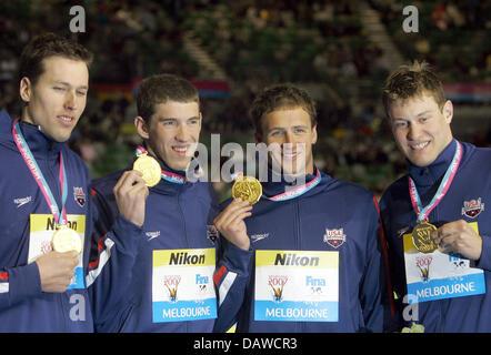 US swimmers (L-R) Peter Vanderkaay, Klete Keller, Ryan ...