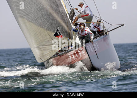 The Italian yacht Luna Rossa sails the fourth race of the Louis Vuitton Cup regatta forming part of the America's - Stock Photo