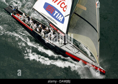 Italian yacht Luna Rossa sails during the Flight 2 race of Round Robin Two of Louis Vitton Cup near Valencia, Spain, - Stock Photo