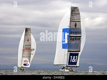 German yacht Team Germany sails against Italian yacht Luna Rossa during the Flight 2 race of Round Robin Two of - Stock Photo