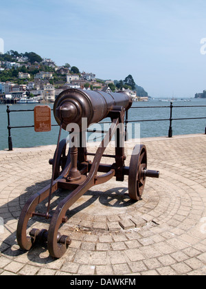 Cannon on the harbour wall at Dartmouth, Devon, UK 2013 - Stock Photo