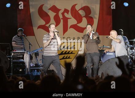German Hip Hop band 'Die Fantastischen Vier' performs at VfB Stuttgart's title celebrations in Stuttgart, Germany, - Stock Photo
