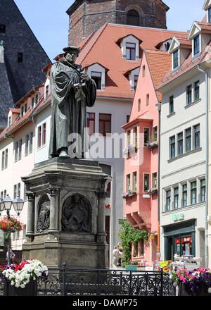 Market Square is pictured in Lutherstadt Eisleben, Germany, 19 July 2013.Theologist and reformer Martin Luther - Stock Photo