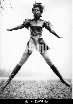 fashion, ladies' fashion, woman in mini dress and leather boots, 1968, Additional-Rights-Clearences-NA - Stock Photo