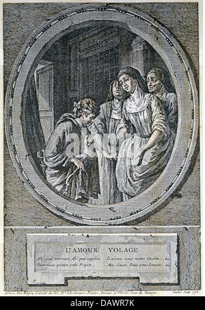 religion, christianity, religious orders, caricature, 'L'Amour volage', Cupid as a beggar at the convent's gate, - Stock Photo