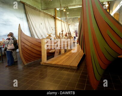 Reconstructed Viking ships of the 11th century, discoverd in the Roskilde fjord in 1962, are presented in the ship - Stock Photo