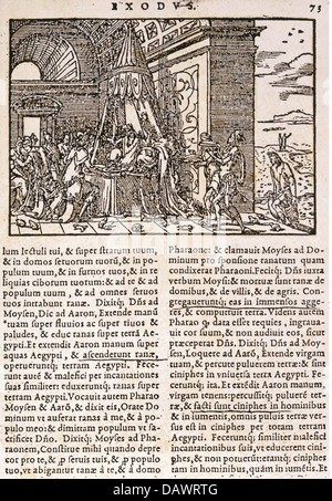 religion, biblical scenes, Plagues of Egypt, plague of frogs, 'Biblia Sacra', printed by Jean de Tournes, Lyon, - Stock Photo