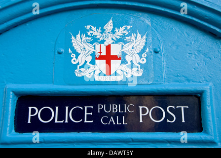 An historic blue police telephone box in central London near Bank underground station.. - Stock Photo