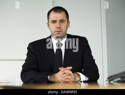 Thorsten Michalik, ETF (Exchange Traded Funds) Director of 'Deutsche Bank' pictured during an interview in Frankfurt - Stock Photo