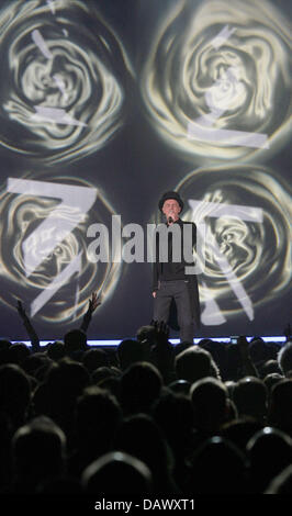 Singer Neil Tennant of the British pop band Pet Shop Boys performs during their concert at Philipshall in Duesseldorf, - Stock Photo