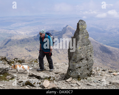 Walker with dog by stone marker at top of Watkin path on Snowdon south ridge with Y Lliwedd beyond in Snowdonia - Stock Photo
