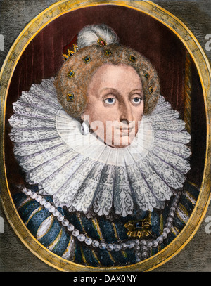 Portrait of Queen Elizabeth I. Hand-colored photogravure of a portrait by Hendrik de Hondt the Younger - Stock Photo