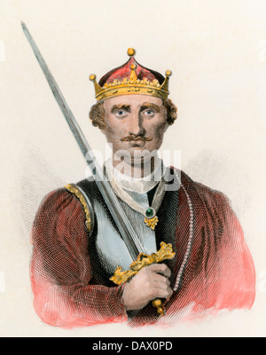 King of England William I, the Conqueror, carrying a sword. Hand-colored engraving - Stock Photo