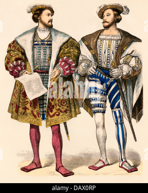Henri II, King of Navarre (left); and Claude de Lorraine, Duke of Guise, 1500s. Hand-colored print - Stock Photo