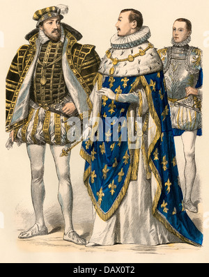 King of Navarre Antoine de Bourbon (left); Charles IX, King of France (center); and Francis II, young King of France, - Stock Photo
